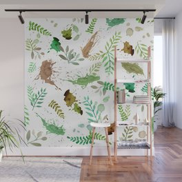 Green Leaves, Paint Splatter, Pattern Wall Mural