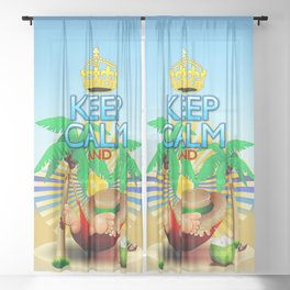 Keep Calm and...Relax on Hammock! Sheer Curtain
