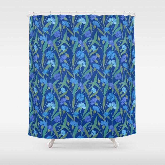 Cornflower Field On Bright Blue Shower Curtain By Imali