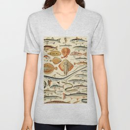 Vintage Fishing Diagram // Poissons by Adolphe Millot XL 19th Century Science Textbook Artwork Unisex V-Neck