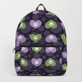Purple and Green Hearts and Paw Prints Pattern Backpack