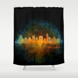 Austin Texas, City Skyline, watercolor  Cityscape Hq v4 Dark Shower Curtain