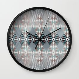 blurry diamond geo in pale teal and ochre Wall Clock