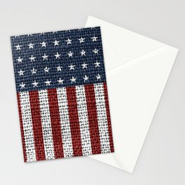 USA American Flag Rustic Jute Style 4th July Decor Stationery Cards