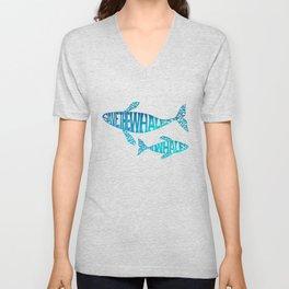 Save the Whales, Aqua blue Unisex V-Neck