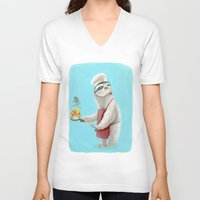 "sloths V-neck T-shirts featuring Sloths Are Bad At Things- Henri the Chef! by Megan ""Tillette"" Jones"