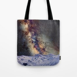 The star Antares, Scorpius and Sagitariuss over the hight mountains. The milky way. Tote Bag