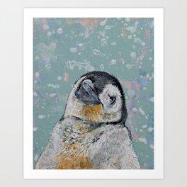 Baby Penguin Snowflakes Art Print