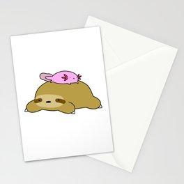 Axolotl and Sloth Stationery Cards
