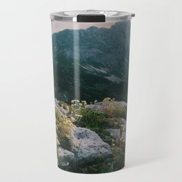 Mountain flowers at sunrise Travel Mug