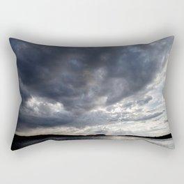Dark Clouds Coming Over Lake In Scandinavia Rectangular Pillow
