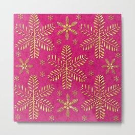 DP044-1 Gold snowflakes on pink Metal Print