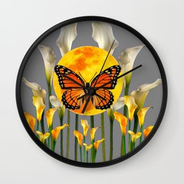 FANTASIC MONARCH BUTTERFY MOON & CALLA LILIES Wall Clock
