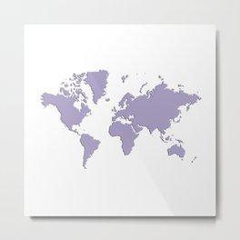 World with no Borders - light purple Metal Print