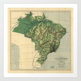 Physical Map of Brazil (1886) Art Print