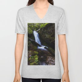 Waterfall in enchanted forest Unisex V-Neck