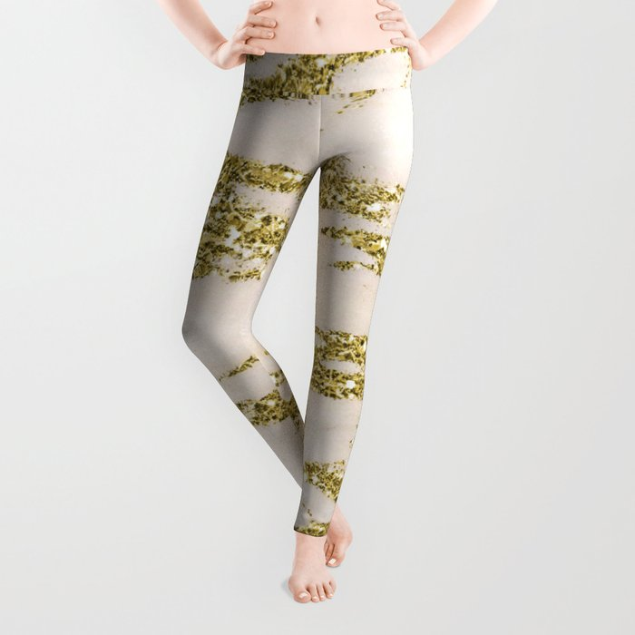 Marble - Gold Marble Glittery Light Pink and Yellow Gold Leggings