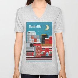 Nashville, Tennessee - Skyline Illustration by Loose Petals Unisex V-Neck