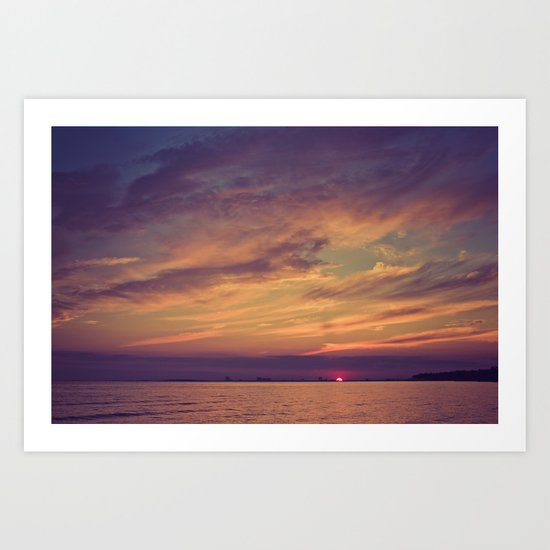 End of Day Over Biloxi Art Print