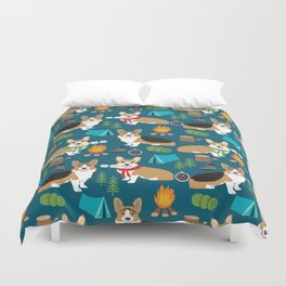 Corgi camping marshmallow roasting corgis outdoors nature dog lovers Duvet Cover