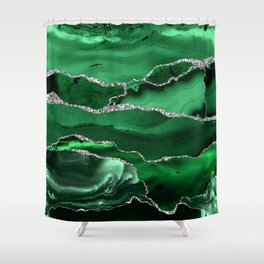 Glamour Emerald Bohemian Watercolor Marble With Silver Glitter Veins Shower Curtain