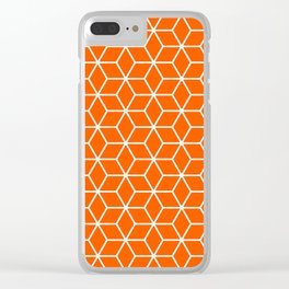 Unapologetic Orange in Cubes Clear iPhone Case