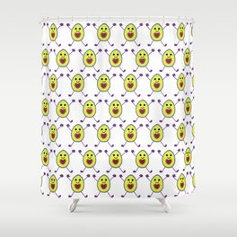 Happy Avocados on White Shower Curtain
