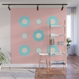 Blue and white flowers over pink Wall Mural