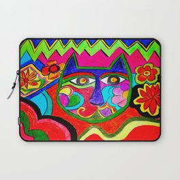 Abstract Catface with flowers Laptop Sleeve