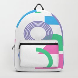 Bright 90s Vibe Geometric Shapes Collage  Backpack