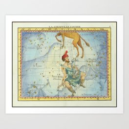 Vintage Print - J Flamsteed - Atlas Celeste (1776) - Camelopardalis & Auriga Art Print