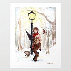 Mr. Tumnus at the Lamp-Post Art Print