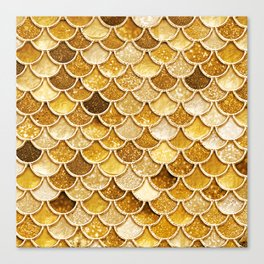 Gold Trendy Glitter Mermaid Scales Canvas Print