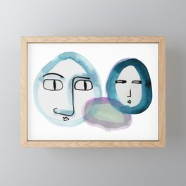 """""""Paper Drawings/Paintings"""" The Wondering and The Lurking in Sapphire Blue Framed Mini Art Print"""