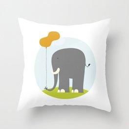 An Elephant With a Peanut Balloon Throw Pillow