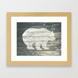 Rustic White Bear on Teal Wood Lodge Art A231c Framed Art Print