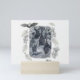 Autumn Bats Black & White Mini Art Print