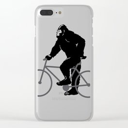 Bigfoot  riding bicycle Clear iPhone Case