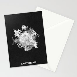 Amsterdam, The Netherlands Black and White Skyround / Skyline Watercolor Painting (Inverted Version) Stationery Cards