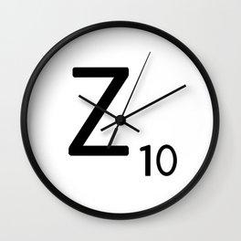 Letter Z - Custom Scrabble Letter Tile Art - Scrabble Z Initial Wall Clock