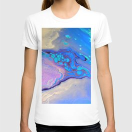 Slow Down Purple - Ultra Violet and Blue Fluid Pour Painting Abstract T-shirt