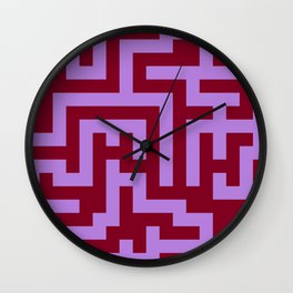 Lavender Violet and Burgundy Red Labyrinth Wall Clock