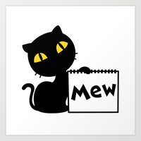 mew Art Prints featuring Mew by Tem's House