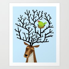 The Tree Stag and The Green Finch Art Print