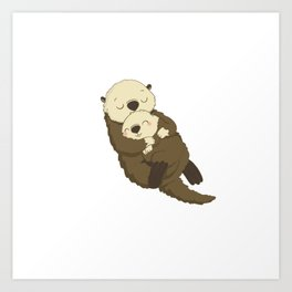 otter sleeping Art Print