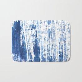 Steel blue streaked watercolor pattern Bath Mat