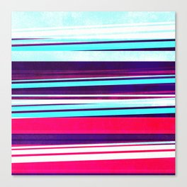 teal & red strips  Canvas Print
