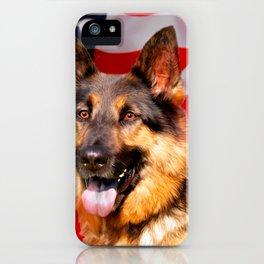 German shepherd Dog Patriot Red Blue White iPhone Case