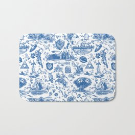 "Zelda ""Hero of Time"" Toile Pattern - Zora's Sapphire Bath Mat"