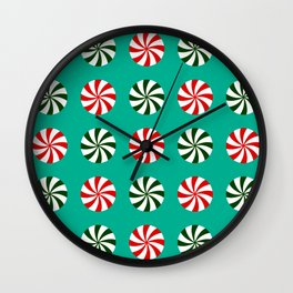 Striped Candy Mints in Christmas Colors Pattern Wall Clock